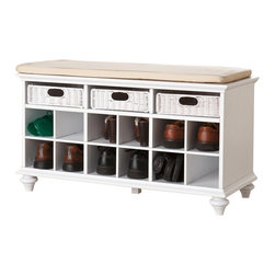 Southern Enterprises - Southern Enterprises Chelmsford Entryway Bench in White Finish - Southern Enterprises - Living Room Benches - BC4014 - Escape the jungle in your entryway at last! Stylish yet soft-spoken, this shoe bench provides the perfect solution to an untidy entryway or cluttered bedroom. This beautiful, white shoe bench has 12 shoe storage shelves and will accommodate 6 to 12 pairs of shoes. The bench has a padded seat in warm cream cover that is removable and washable. Three substantial rattan pull out drawers provide the perfect catchall to help organize your essentials such as gloves, scarves, etc. This shoe bench will be a perfect addition to any entryway, bedroom or sunroom. It's a versatile storage piece for organized bliss in any room! Order one, or more, today to complete your home with style. The handcrafted touch of artisan skill creates variations in color, size and design. If buying two of the same item, slight differences should be expected. Note: color discrepancies may occur between this product and your computer screen.