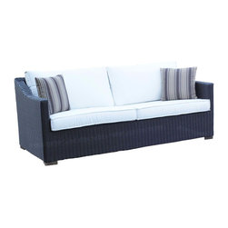 Wicker Paradise - Patio Wicker Outdoor Sofa Portofino - Black Forest - A stylish wicker sofa made for total outdoor use. Aluminum frame and synthetic wicker weave make this a perfect companion at your patio seating area!
