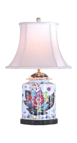 """Lamps Plus - Asian Porcelain Scallops Tobacco Tea Jar Table Lamp - Add a refined accent with this richly colorful table lamp. The design features a wide tea jar-shaped base decorated with stylized tobacco leaves and flowers. An off white satin oval bell shade sits on top. A three-way socket allows for a variety of lighting options. Porcelain base. Floral theme. Off white bell shade. Takes one 100 watt three-way bulb (not included). 29"""" high. Shade is 7""""x10"""" across the top 14""""x18"""" across the bottom 14"""" high.  Porcelain base.   Floral theme.  Off white bell shade.   Takes one 100 watt three-way bulb (not included).   29"""" high.   Shade is 7"""" wide by 10"""" deep across the top.  Shade is 14"""" wide by 18"""" deep across the bottom.   Shade is 14"""" high."""