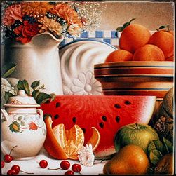 "Tile Art Gallery - Country Fruit - Ceramic Accent Tile, 4.25 in - This is a beautiful sublimation printed ceramic tile entitled ""Country Fruit"" by artist Dan Craig. The printed tile displays a bountiful harvest of fresh fruit. Pricing starts at just $14.95 for a 4.25 inch tile."