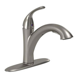 "American Standard - American Standard 4433.100.075 Quince Pull-Out Kitchen Faucet, Stainless Steel - This American Standard 4433.100.075 Quince Single Control Pull-Out Kitchen Faucet is part of the Quince collection, and comes in a beautiful Stainless Steel finish. This single-control kitchen faucet features a cast brass body and swivel spout, a metal escutcheon and metal lever handle, a washerless ceramic disc valve cartridge, braided flexible supply hoses with 3/8"" compression connections, a metal mounting shank with brass fixation ring, two integral check valves, and a lead-free design."