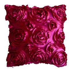 KHWindow Fashions, Inc. - Textured Rose Pillow-Fuschia, Fushia, 18x18, With Insert - This textured rose pillow adds a pop of color to any space.  The texture and vibrant color is exquisite.