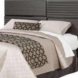 Standard Furniture - Standard Furniture Reaction Panel Headboard in Black and Grey - Full/Queen - A combination of smooth and textured black and grey surfaces on clean square profiles creates reactions distinctive modern look.