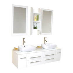 Fresca - Bellezza White Double Vessel Sink Vanity Soana Brushed Nickel Faucet - This is our most popular vanity from the Fresca line.  Marble, real wood and ceramic make up this stunning piece usually installed in high end residences.  Double sinks make this perfect for a master bedroom, his and hers with equal amount of drawer space.  Very clean lines, no fuss, no extra frills make it easy for the homeowner to then spice up the rest of the bathroom.  Many faucet styles to choose from.  Optional side cabinet is available.