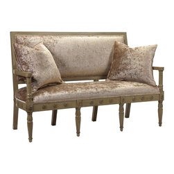 French Heritage - French Heritage Napolean Upholstered Bench - This classic settee featuring hand-carved detailing in a hand-rubbed finish gets a chic update for today's lifestyles.  Settee ships As-Shown.