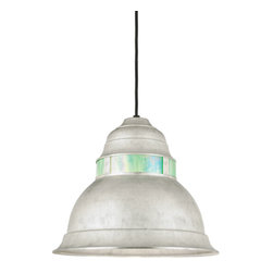 "THE MADERA CORD-HUNG CEILING LIGHT - 8"" Madera shown in 118-Painted Aluminum Finish with Blue Iridescent Lens & BLO-CB8"