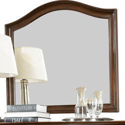American Drew - American Drew Cherry Grove NG Arched Landscape Mirror in Mid Tone Brown - Cherry Grove New Generation line promises the same timeless quality and appeal with a full line of dining room, bedroom, home office, entertainment and occasional furniture. The line incorporates many elegant curves and graceful movement, and is updated with today's finishes, functionality and style. The inviting mid tone brown finish makes the cherry veneers pop on each piece, along with custom designed hardware. This line takes advantage of vertical space with higher case heights, and maximizes the utility of small spaces with hinged drop leaves on servers and tables. In combination, the collection takes functionality to a lifestyle level and allows urban or scaled-down living spaces to become entertainment areas, making small rooms work like big rooms. The New Generation of Cherry Grove is about honoring tradition while staying on trend.