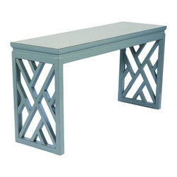 Chinese Chippendale Writing Desk - I'm crazy about this Chinese Chippendale lattice desk! It is also available in several color options.