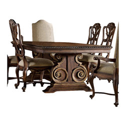 Hooker Furniture - Hooker Furniture Adagio Rectangular Pedestal Dining Table with Leaves - Hooker Furniture - Dining Tables - 509175207 - Grand scale classic design and soft flowing shapes are married with a rich dark finish to give birth to the stunning Adagio collection.