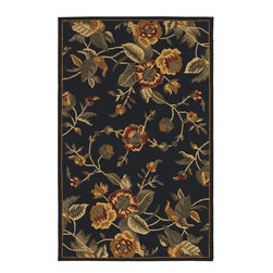 Couristan - Country & Floral Botanique 9'x12' Rectangle Black Area Rug - The Botanique area rug Collection offers an affordable assortment of Country & Floral stylings. Botanique features a blend of natural Black color. Handmade of New Zealand Wool the Botanique Collection is an intriguing compliment to any decor.