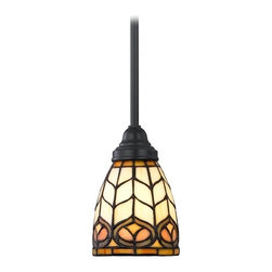 Design Classics Lighting - Mini-Pendant Light with Tiffany Glass - 1628-140 - Includes three 12-inch and one six-inch stem segments to allow for flexibility in height adjustment. Hangs at a minimum height of 16-1/4-inches and at a maximum height of 52-1/4-inches. Takes (1) 100-watt incandescent A19 bulb(s). Bulb(s) sold separately. UL listed. Dry location rated.