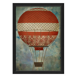 "The Artwork Factory - ""Hot Air Balloon 5"" Print - Turn the vintage style quotient up, up and away with this beautiful balloon. It's a high quality print that features oranges and blues to give the lift your walls need. It comes in a wooden frame ready to hang."