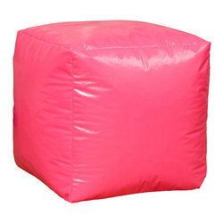 Best Selling Home Decor - Pink Parker Vinyl Bean Bag Cube Ottoman - Comfortable and durable, this bean bag ottoman has a vinyl cover and is filled with long-lasting polystyrene beans. They are perfect for a bedroom, home theater rooms, family and game rooms. Color: Various; Materials: Vinyl, polystyrene beans; Weight: 3 pounds; Diameter: 16 inches; Fill: Polystyrene beans; Cover: Cover is double-stitched along all seams and is not removable; also includes hidden stitching and seams; Puncture proof; Care Instructions: Spot Clean; Dimensions: 18 inches high x 18 inches wide x 18 inches deep; Made in the US; Kid friendly