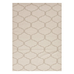 Jaipur Rugs - Flat Weave Moroccan Pattern Ivory /White Wool Handmade Rug - MR64, 2x3 - An array of simple flat weave designs in 100% wool - from simple modern geometrics to stripes and Ikats. Colors look modern and fresh and very contemporary.