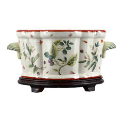 Oriental Danny - Hand painted porcelain planter - This big scallop shape planter is also referred as footbath. The planter measures 18L x 10W x 10H and is great for large floral arrangement. Ideal to place on a larger area and table. The planter is hand made and hand painted with a refreshing pattern named Canton Leaf.  Bonus with this planter: a custom wooden base comes with the planter.