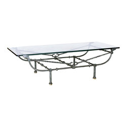 """GILANI - Parisian Coffee Table Base - Parisian Coffee Table Base. Style no: CT97300. 62""""w x 27""""d x 18""""h. Material: Metal. Finish: As specified. Top Options: Glass. Custom sizing available."""