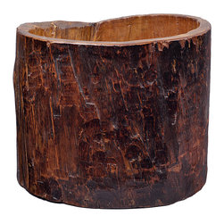 None - Vintage Tree Trunk Bucket - Handmade bucket made from a tree trunk Curved top and the outside is grooved to show its character Color: Slightly faded coloring and is perfect for any room