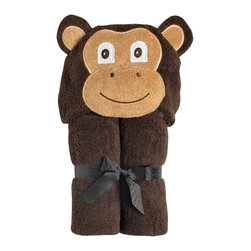 """Yikes Twins - Monkey Hooded Towel - Are you ready for some Monkeying around after the bath?  They we have the towel for the little Monkey in your life!   Micah is  crafted from soft, 100% cotton, dark brown terry and has a fluffy, soft, smiley, face.  Towel size 27""""x51"""", hood size 10""""x 8.5"""".  Machine wash.  Suitable for children ages 2 and up."""