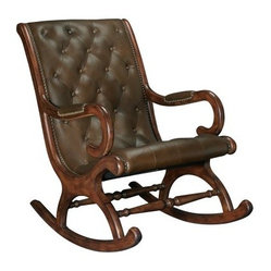 Hammary Lincoln Rocking Chair - Your search for that antique look stops with the Hammary Lincoln Rocking Chair. Constructed from solid wood and clad in leather, this chair will have you rocking your way to comfort in no time. The antiqued brass nailhead trim rounds out the look of a bygone era just waiting to be discovered again.