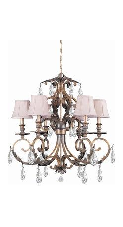 Crystorama - 6-Lights Hand Cut Crystal Wrought Iron Chandelier - Hand cut crystal wrought iron chandelier.