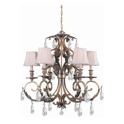 Crystorama - 6-Lights Hand Cut Crystal Wrought Iron Chandelier - Hand cut crystal wrought iron chandelier.