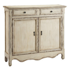 Stein World - Stein World Heidi Cupboard - A narrow two door two drawer cupboard with fixed interior shelf and a hand painted creamy vintage finish with tan rub-through and slightly distressed.