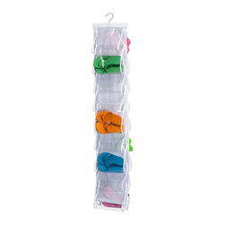 Honey Can DO - Flip Flop Organizer - Turn a jumbled mess into a well-kept closet with this clear 18-Pocket flip flop organizer. Easily hangs over any traditional closet door to keep 18-pair of flip flops, sandals, or ballet flats organized, off the floor, and out of sight. Keep one at home and one at the beach house. Also perfect for the dorm,