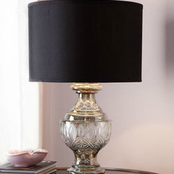 """Cambridge"" Etched Lamp - Classy table lamp with smoky etched-glass base is topped by a matte black silk shade."