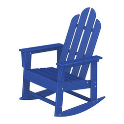 """Polywood POLYWOOD® Long Island Rocker in Pacific Blue - The sun, the beach and a really good book Bring the easy comfort of a day at the beach to your outdoor living area with the stylish and eco-friendly Long Island Rocker inspired by the classic Northeast Adirondack with a twist of modern design. You don't need a house in the Hamptons to create your own breezy get away with these classically styled pieces constructed from HDPE material – an incredibly durable material made from post-consumer bottle waste, such as milk and detergent bottles. Solidly constructed with stainless steel hardware, these pieces will stand the test of time and can withstand the elements with very little maintenance.  The Long Island Rocker will not absorb moisture and requires no waterproofing, painting or staining to maintain their bright color for years. The colors are blended into the material all the way through, and are UV-resistant. Minimal assembly is required.  Available colors: Sunset Red, Tangerine, Lemon, Lime, Aruba, Pacific Blue, Teak, White, and Black.  Dimensions: Long Island Rocker – 41""""H x 26.5""""W x 30""""D, Seat height – 16.25"""", Seat size – 20"""" x 17""""   Care: Wash with mild soap and water. They can be power washed at pressures below 1,500 PSI.Please allow 2-3 weeks to ship."""