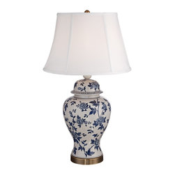 "Lamps Plus - Country - Cottage Rose Vine Blue and White Temple Jar Table Lamp - A visually stunning table lamp in a temple jar shape with a delicate rose vine design in a rich blue and white color pattern. A crackle ceramic finish adds an antique inspired look. While the crisp white lamp shade will complement any style decor. A brass base completes the look. Temple jar table lamp. Blue and white rose vine design. Crackle ceramic finish. Ceramic construction. Maximum 150 watt bulb (not included). On-off switch. White bell lamp shade. 25"" high. Shade measures 12"" across the top 15"" across the bottom 10"" high.  Temple jar table lamp.  Blue and white rose vine design.  Crackle ceramic finish.  Ceramic construction.  Maximum 150 watt bulb (not included).  On-off switch.  White bell lamp shade.  25"" high.  Shade measures 12"" across the top 15"" across the bottom 10"" high."