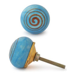 "Knobco - Ceramic Knob, Orange and Turquoise - Orange and Turquoise Ceramic knob, perfect for your kitchen and bathroom cabinets! The knob is 1.5"" in diameter and includes screws for installation."
