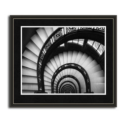 MonDeDe - Stairways & Stairwells - Printed on archival quality paper, not to fade for 200 years. Hand-assembled wood frame. Manufactured in the USA.