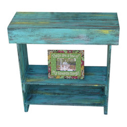 Aqua Distressed Wall Table - This piece of furniture will brighten up your day and any space that needs some life. Use as an entry way table, media table, bedside table and more. The dimensions measure 33L x 12D x 33H and has sanded hues of turquoise, yellow and coral throughout. Each of our pieces are handmade with excellence and we guarantee you will receive the highest quality possible from the color finish to the structure and durability of its construction. You will love this piece!