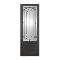 """Uttermost - Uttermost Teulada Floor Mirror in Aged Black w/ Rustic Finish - Floor Mirror in Aged Black w/ Rustic Finish belongs to Teulada Collection by Uttermost Heavily distressed, aged black finish with rustic, iron design over mirror. Mirror features a generous 1 1/4"""" bevel. Mirror (1)"""