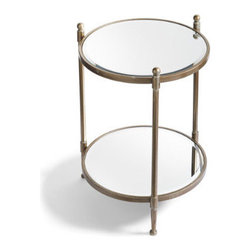 Grandin Road - Britta Two-Tier Mirrored Table - Crafted from metal and glass. Detailed with decorative ball finials. Antique-bronze finished frame. Mirrors remove for easy cleaning. Assembly required. The traditional form of our Britta Two-Tier Mirrored Table gets a mod update with two levels of beveled mirror.  .  .  .  .  .