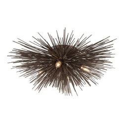 """Troy Lighting - Uni Semi-Flushmount by Troy Lighting - Known as """"uni"""" in Japanese, the sea urchin is a beautiful creature in the tide pools. In a Tide Pool Bronze finish, the Troy Lighting Uni Semi-Flushmount is a beautiful creation in modern or transitional interiors. Pretty patterns of light and shadow play over ceilings and walls thanks to exposed bulbs that twinkle among the wild array of hand-worked wrought iron spines. Troy Lighting, headquartered in California, designs and manufactures indoor and outdoor lighting fixtures, utilizing hand-forged iron and hand-applied finishes to create quality products with high-style appeal."""