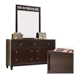 Hooker Furniture - Hooker Furniture Opus Designs Ludlow Seven Drawer Dresser and Mirror in Walnut - Hooker Furniture - Dressers - 10304626146030PKG - Hooker Furniture Opus Designs Ludlow Seven Drawer Dresser and Mirror in Walnut