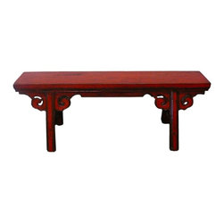 Golden Lotus - Chinese Oriental Red Lacquer Long Wood Bench - This is an oriental long wood bench with rustic rough wood painted with modern distressed red lacquer color.