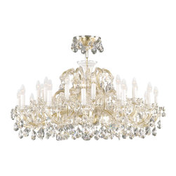 """Inviting Home - Maria Theresa Crystal Chandeliers (Select Crystal) - clear and gold Maria Theresa style crystal chandelier; 41"""" x 27""""H (24 lights); assembly required; 24 light select clear crystal chandelier with hand-molded arms and cut crystal components and trimmings; all metal parts have gold finish; genuine Czech crystal; * ready to ship in 2 to 3 weeks; * assembly required; This chandelier is a part of Maria Theresa Collection. At their start the chandeliers bearing the name of Maria Theresa were made on the occasion of the Empress's coronation as queen of Bohemia in 1743. This fact is hidden in the shape of these lighting fixtures reminiscent of the royal crown. Their characteristic feature is the arms' typical flat surface clad with glass bars. The bars are fixed to the arms by glass rosettes and beads with dangling cut crystal chandelier trimmings. These ravishing fixtures were inspired by a chandelier made for Maria Theresa in Bohemia in the mid 18th century. However not only the empress became fond of it; so did many others who fancied the style and the majestic manners after her. Typical elements are metal arms overlaid with glass bars and decorated with crystal rosettes. Originally the trimming was made of typical flat drops called """"pendles"""". Today trimmings of various shapes are used. Select crystal (or standard). Hand cut or partly machine cut chandelier trimmings. Inspired by rich glassmaking tradition as well as modern trends these crystals are characterized by distinct fire rainbow sparkle and purity of shape. Each piece is checked for accuracy of cut and its high quality is guaranteed. They will satisfy even the most discriminating customers. Chandelier trimmings of the Select type offer an opportunity to those searching for quality at a great value. The tradition of production luxurious appearance and classical morphology are the common denominator of all these chandeliers. To manufacture these almost 90 percent is hand-completed: mouth-blowing c"""
