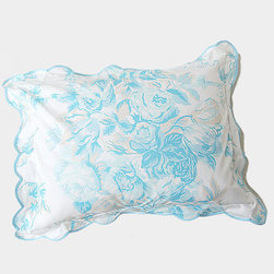 D. Porthault Sissi Blue Boudoir Pillow - I love crisp white bedding, but without a little bit of color or pattern thrown into the mix it can be drab. This little boudoir pillow in bright turquoise provides just the pop of color necessary to spruce up a white bed.