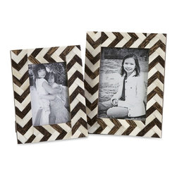 "IMAX - Zig Zag Bone Inlay Frames - Set of 2 - A set ofeetwo photo frames made with bone inlay make the perfect desk, shelf or vanity accessory. White bone inlay with brown chevron pattern gives these frames a simple decorative appeal. For a coordinated look, display with the Zig Zag bone inlay boxes.  Item Dimensions: (8.5-9.5""h x 6.5-7.5""w x 6.5-7.5"")"
