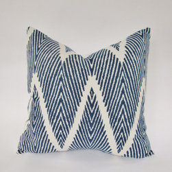 Indigo Blue Ikat Chevron Decorative Pillow Cover by Indigo Bliss Boutique - This pillow mixes the best of two trendy patterns: chevron and ikat.