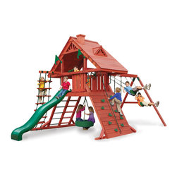 Gorilla Playsets - Sun Palace I Swing Set - The view's great from the Sun Palace I Swing Set by Gorilla Playsets! This swing set was designed to keep kids busy with a rock wall and a rope ladder, all while building strength and coordination. The play deck is protected with a tongue and groove wood roof. Gorilla Playsets' cedar naturally resists rot, decay, and insect damage.