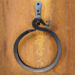 Hook Hand-Forged Iron Towel Ring - This hook design iron towel ring is perfect for a rustic, cabin style bathroom setting.