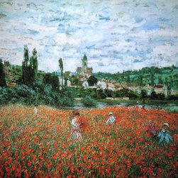"Claude Oscar Monet Poppy Field near Vetheuil - 16"" x 20"" Premium Archival Print - 16"" x 20"" Claude Oscar Monet Poppy Field near Vetheuil premium archival print reproduced to meet museum quality standards. Our museum quality archival prints are produced using high-precision print technology for a more accurate reproduction printed on high quality, heavyweight matte presentation paper with fade-resistant, archival inks. Our progressive business model allows us to offer works of art to you at the best wholesale pricing, significantly less than art gallery prices, affordable to all. This line of artwork is produced with extra white border space (if you choose to have it framed, for your framer to work with to frame properly or utilize a larger mat and/or frame).  We present a comprehensive collection of exceptional art reproductions byClaude Oscar Monet."