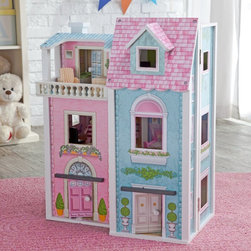 KidKraft - KidKraft Deluxe Townhouse Dollhouse Multicolor - 65196 - Shop for Dollhouses and Dollhouse Furnishings from Hayneedle.com! There's plenty to explore and so many ways to make believe with the KidKraft Deluxe Townhouse Dollhouse. Constructed of composite wood materials and featuring vivid detailed backgrounds in every room and on the exterior this dollhouse brings imaginations to life. Featuring three levels and 12 interior rooms your child will find plenty to do. Included are three 4 inch mini-dolls can sit lounge or use any of the 27 pieces of included furnishings and can even enjoy some time on the 3rd floor balcony or the outdoor patio. From a shower to a crib a computer desk to a cooking range your child will find endless scenarios to act out with this townhouse dollhouse. Best of all its hinged design allows it to fold up easily for convenient storage. About KidKraftKidKraft is a leading creator manufacturer and distributor of children's furniture toy gift and room accessory items. KidKraft's headquarters in Dallas Texas serves as the nerve center for the company's design operations and distribution networks. With the company mission emphasizing quality design dependability and competitive pricing KidKraft has consistently experienced double-digit growth. It's a name parents can trust for high-quality safe innovative children's toys and furniture.