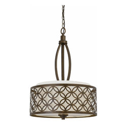 Triarch - Triarch Orion Pendant Light X-20153 - Orion pendant in an aged bronze finish. Fabric shade.