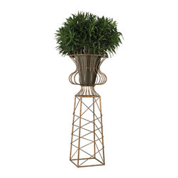 Oversized Planter In Gold Metal - *Dimensions: 23L x 23W x 66H