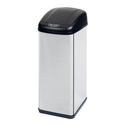 52L Square Sensor Trash Can - Honey-Can-Do TRS-01198 52L Motion Sensing Trash Can, Stainless Finish. Make garbage less of a mess with this convenient motion sensing touchless 52L trash can. The motion-activated lid automatically opens and closes, keeping your hands away from any lingering germs. If needed, the lid can also open with the push of a relative button. The can is battery operated, allowing it to be placed away from precious electrical outlets. An optional a/c adapter is available. Requires 4 D batteries for battery operation, not included.