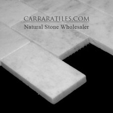 Modern  Carrara Marble Italian White Bianco Carrera 2x4 Mosaic Tile Polished
